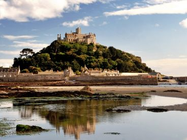 St Michael's Mount at low tide.