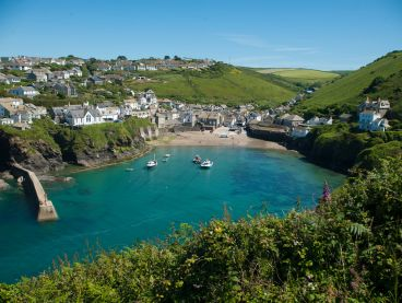 Port Isaac in Cornwall, as seen from the coastal path.