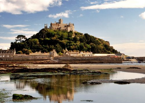 St Michael's Mount in Cornwall at low tide.