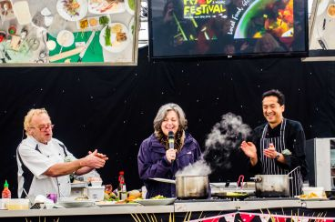 A cooking demonstration at a Cornwall food festival.
