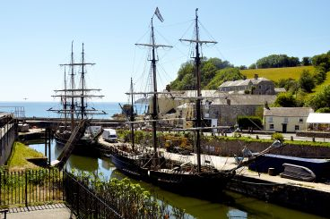 Ships anchored at Charlestown harbour in Cornwall.