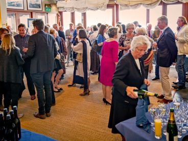 Guests enjoy Champagne at an event at The Nare hotel, Cornwall.