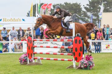 A horse leaping over a jump at the Royal Cornwall Show.