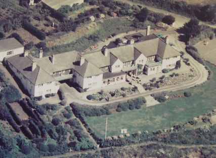 An old aerial photo of The Nare hotel, Cornwall.