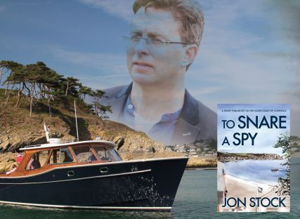 A collage image of Jon Stock, his book To Snare a Spy, and The Nare's boat on the River Fal.