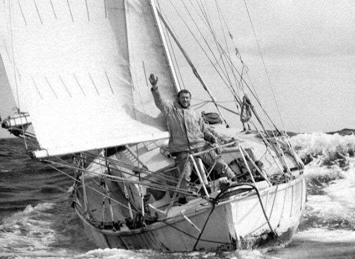 Sir Robin Knox-Johnstone returning to Falmouth in 1969 after his 312 day and 30,000 mile voyage.