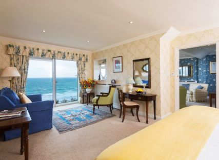 A sea view suite at The Nare, a Cornwall hotel by the sea.