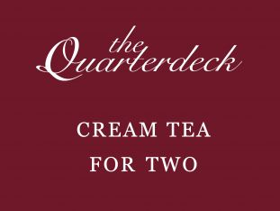 A gift voucher for a cream tea for two at The Quarterdeck restaurant.
