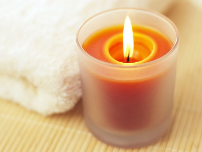A candle and a towel.
